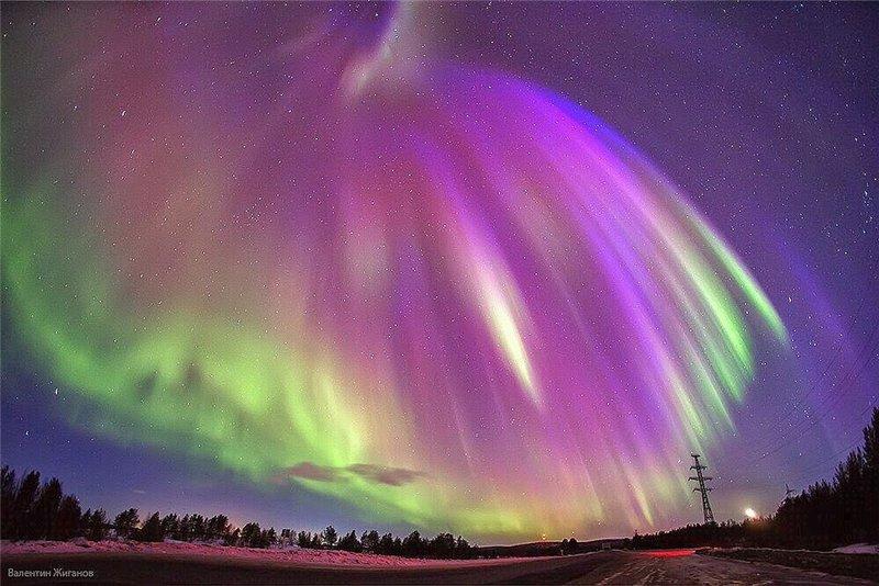 Северное сияние в Карелии, Россия.