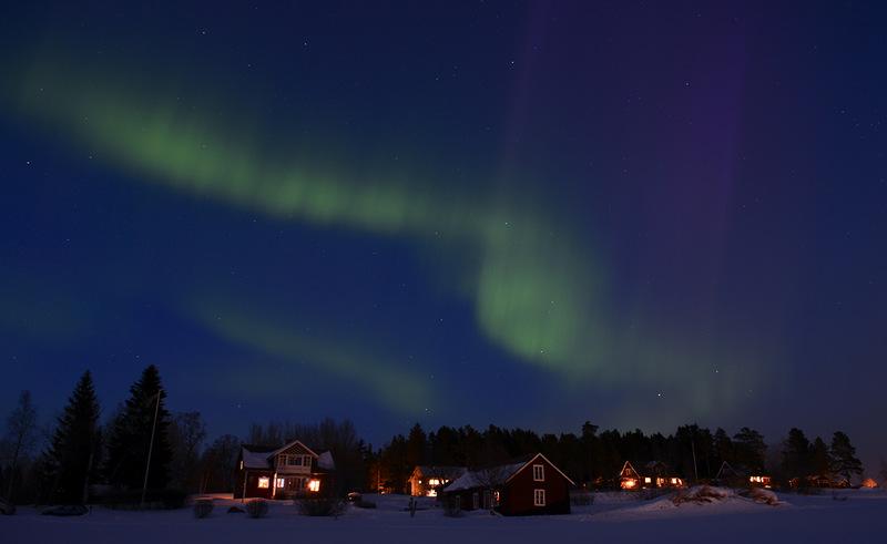 Северное сияние в Швеции.