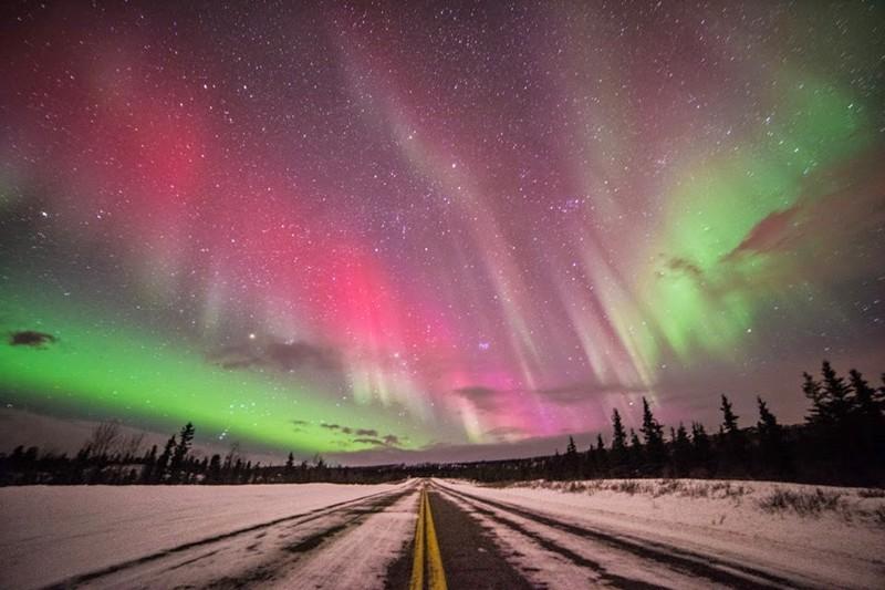 Северное сияние в США, штат Аляска.